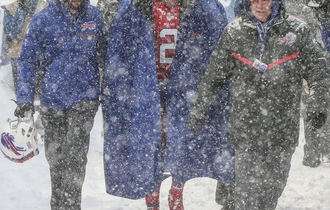 Buffalo Bills quarterback Nathan Peterman leaves the game in the third quarter at New Era Field on Sunday, Dec. 10, 2017.  (James P. McCoy/Buffalo News)