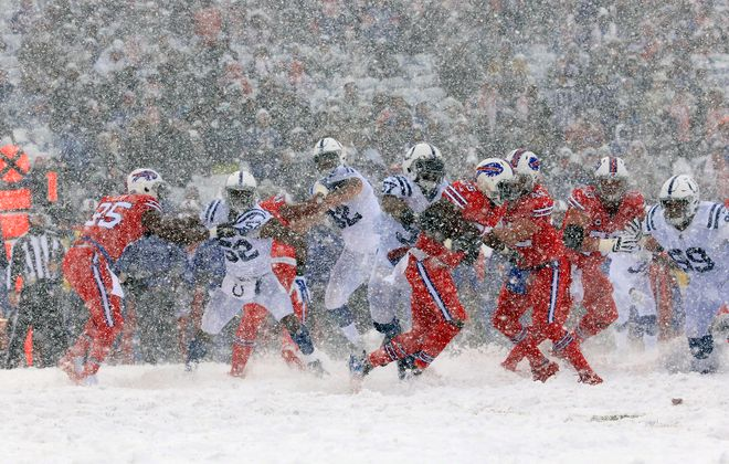 Buffalo Bills running back LeSean McCoy, the hero of Sunday's game, looks for running room against the Indianapolis Colts . (Harry Scull Jr./Buffalo News)