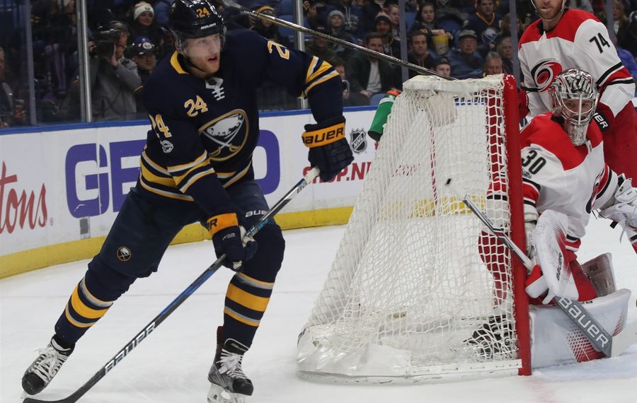 Hudson Fasching was an extra at Sabres practice Monday and could head to Rochester before the NHL holiday roster freeze. (James P. McCoy/Buffalo News)