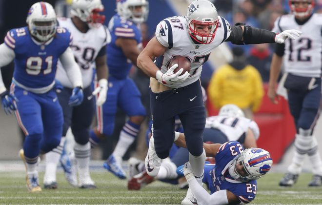 Slowing down Rob Gronkowski will be a big challenge for the Buffalo Bills' defense Sunday. (Mark Mulville/Buffalo News)