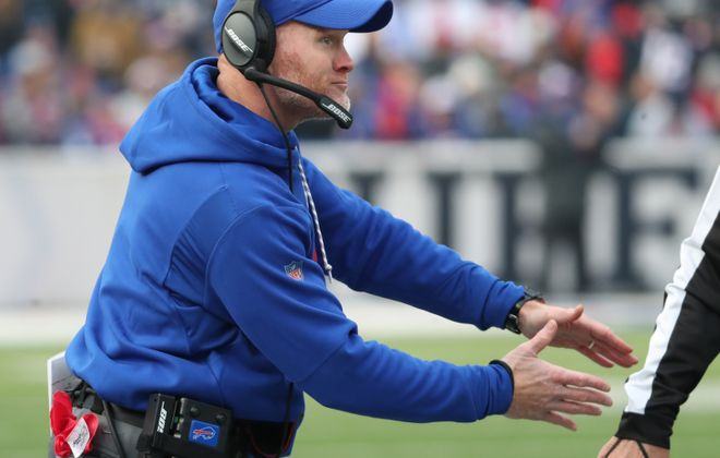 Sean McDermott questions a call in a game vs. New England in 2017. (James P. McCoy/News file photo)