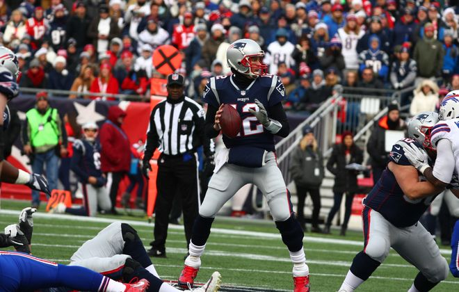New England Patriots quarterback Tom Brady (12) had all the time he needed in the second quarter at Gillette Stadium in Foxborough, MA on Sunday, Dec. 24, 2017.  (James P. McCoy / Buffalo News)