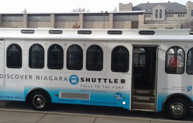 The Discover Niagara Shuttle outside Castellani Art Museum at Niagara University. (Thomas J. Prohaska/Buffalo News)