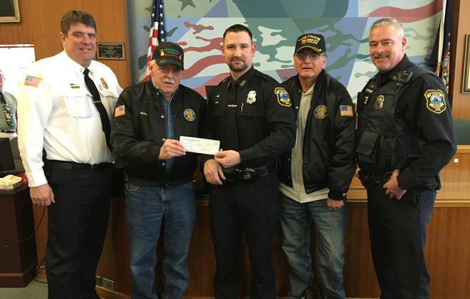 City of Tonawanda Police grow goatees to raise money for the Vietnam Veteran Chapter 77 food pantry (l-r) Police Chief William Strassburg,  VVA President Mike Walker, PBA President Bryan Lavey, VVA treasurer Paul Pietrowski and Officer Vincent Ostrowski
