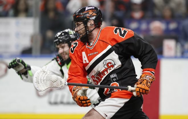 Buffalo Bandits Steve Priolo moves the ball against the Saskatchewan Rush during first half action at the KeyBank Center on Saturday, April 1, 2017. (Harry Scull Jr./Buffalo News)