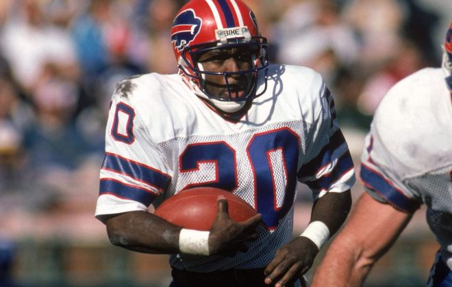 Running back Joe Cribbs (20) of the Buffalo Bills during a game against the San Diego Chargers at Jack Murphy Stadium on Dec. 1, 1985, in San Diego. (Getty Images)