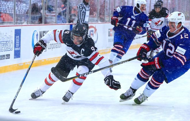 Dillon Dube of Team Canada scored during the first outdoor game in the history of the World Juniors tournament. (Harry Scull Jr./Buffalo News)