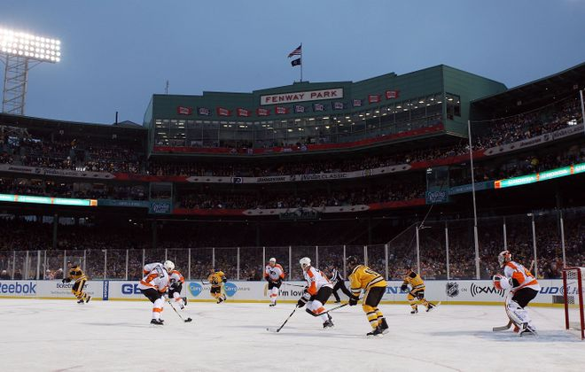 The Flyers and Bruins skate at Fenway Park in the Winter Classic on Jan. 1, 2010 (Getty Images).