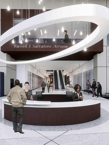 An architectural rendering of the Russell J. Salvatore Atrium at ECMC. (Image courtesy of Clark Patterson Lee)