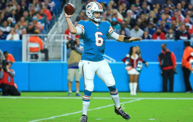 Dolphins quarterback Jay Cutler has completed 64.1 percent of his passes for 2,100 yards and 18 touchdowns. (Getty Images)