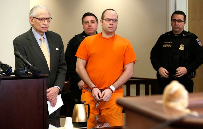 Jeffrey Basil, 39, was found guilty of murder at trial for fatally injuring William C. Sager Jr. by shoving him down a stairway in Molly's Pub in May 2014. (News file photo)