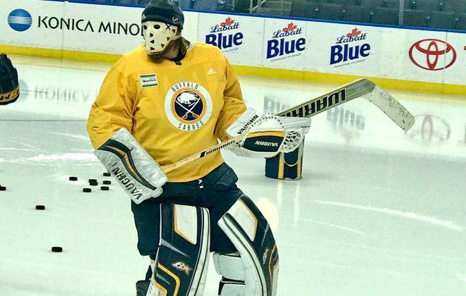 Robin Lehner sports a vintage Paul Harrison mask at practice Thursday (Buffalo Sabres photo).