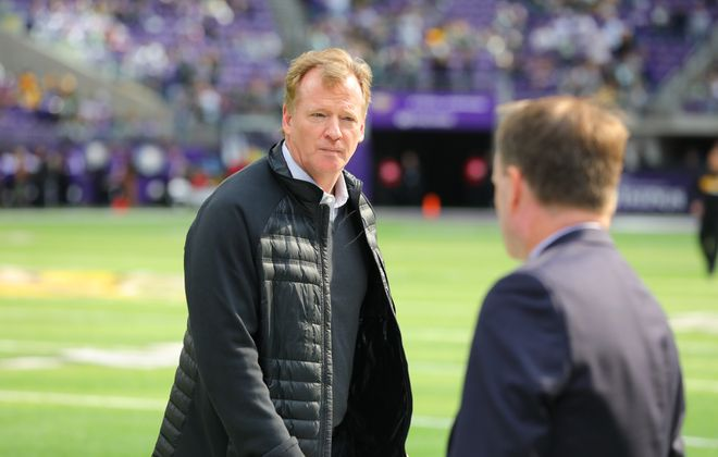 NFL Commissioner Roger Goodell walks off the field after warmups on Oct. 15, 2017, at U.S. Bank Stadium in Minneapolis, Minn. (Getty Images)