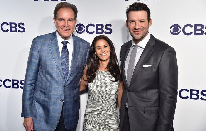 CBS' top football broadcast crew – Jim Nantz, Tracy Wolfson and Tony Romo. (Theo Wargo/Getty Images)