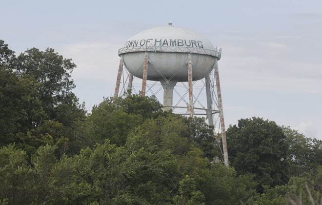 Voting is taking place on what type of hamburger will be painted on the Hamburg water tower. (John Hickey/Buffalo News)