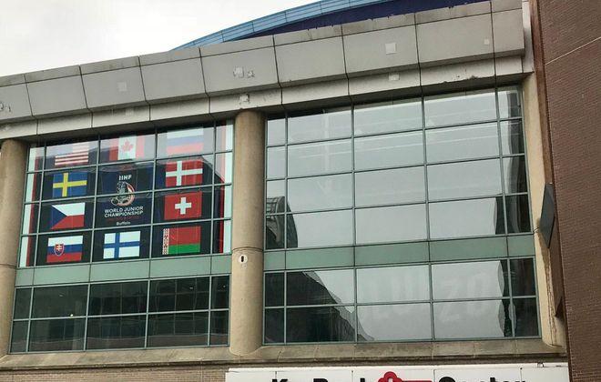 Flags of participating countries hang at KeyBank Center. (John Vogl/Buffalo News)