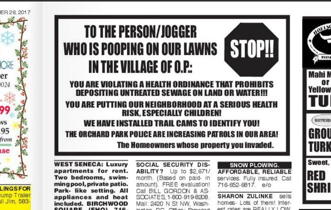 Someone took out an ad in the Orchard Park Pennysaver to issue a warning to a person they believe has been pooping outside their home. (Orchard Park Pennysaver)