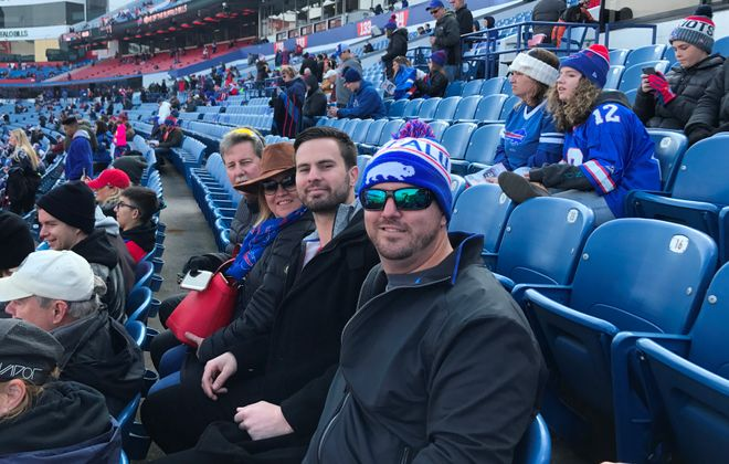 Jesse Winker and his family attend the Bills game against the Patriots on Sunday, Dec. 3, 2017. (Contributed photo)