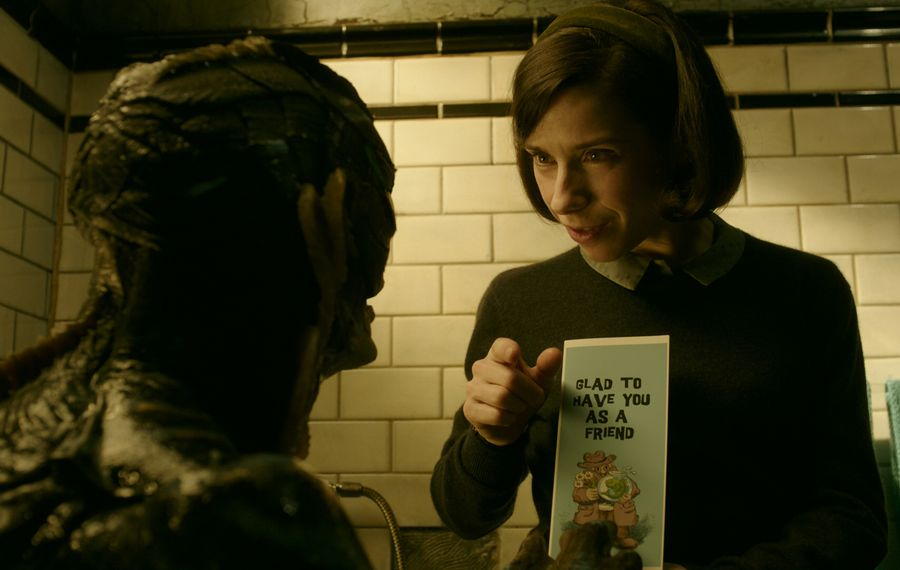 "Doug Jones and Sally Hawkins forge an unlikely bond in ""The Shape of Water."" (Courtesy of Fox Searchlight Pictures.)"