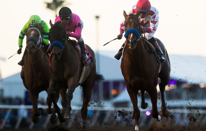 Gun Runner (right) and Collected (middle), find themselves in the thick of the Racing Kreskin's 2018 predictions. Photo Credit: Alex Evers/Eclipse Sportswire/Breeders Cup