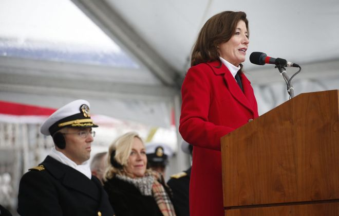Lt. Gov. Kathy Hochul speaks during the Commissioning of the USS Little Rock at Canalside, Saturday, Dec. 16, 2017.  (Derek Gee/Buffalo News file photo)