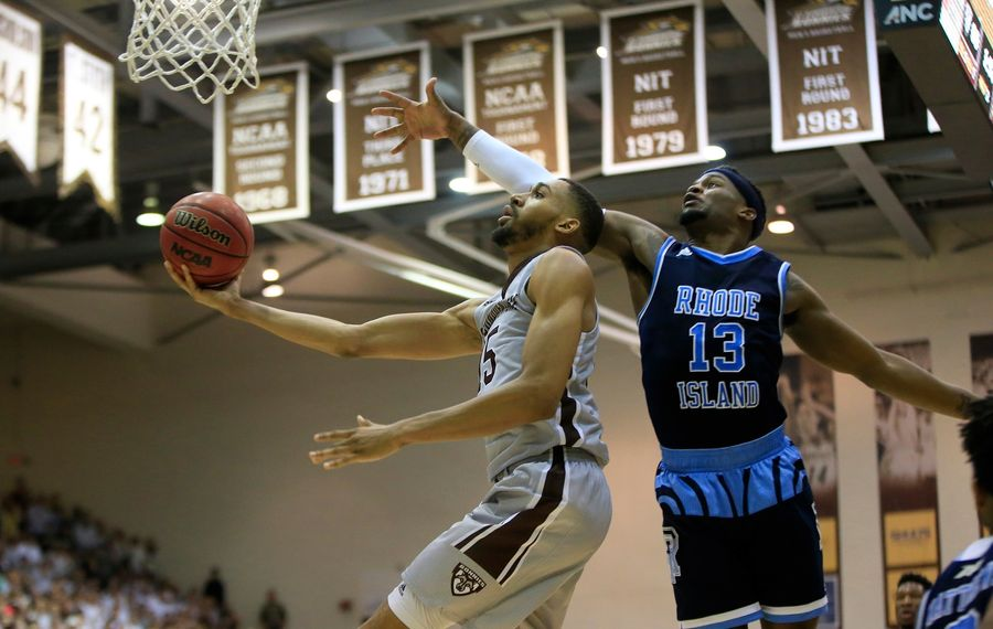 St. Bonaventure's LaDarien Griffin drives past Rhode Island's Stanford Robinson during second half action at the Reilly Center on Friday, Feb. 16, 2018. (Harry Scull Jr./Buffalo News)