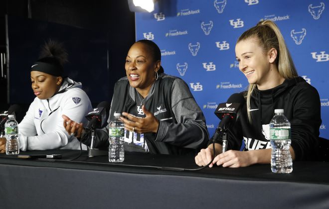 UB women's basketball shooting guard Cierra Dillard, coach Felisha Legette-Jack and senior point guard Stephanie Reid meet with the media at Alumni Arena on Tuesday, March 20, 2018. (Harry Scull Jr./Buffalo News)