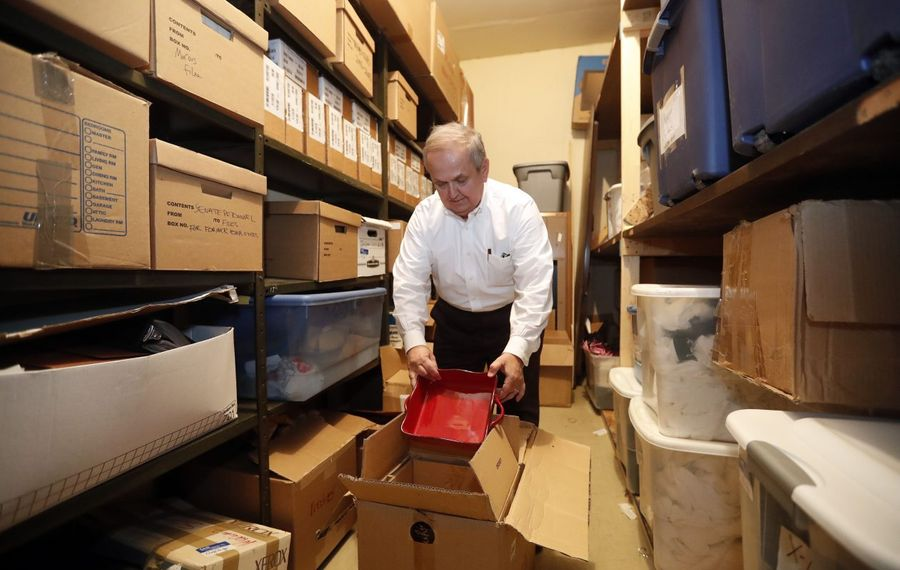 Former state Sen. George Maziarz, who released to The News hundreds of pages of FBI interviews, the state Board of Elections' findings, and the Freed Maxick audit, goes through records in his storage locker in Lockport. (Mark Mulville/Buffalo News)