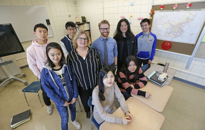 Chinese students at Lewiston-Porter High School are getting a look at college life by living in a residence hall at Niagara University. (Robert Kirkham/Buffalo News)