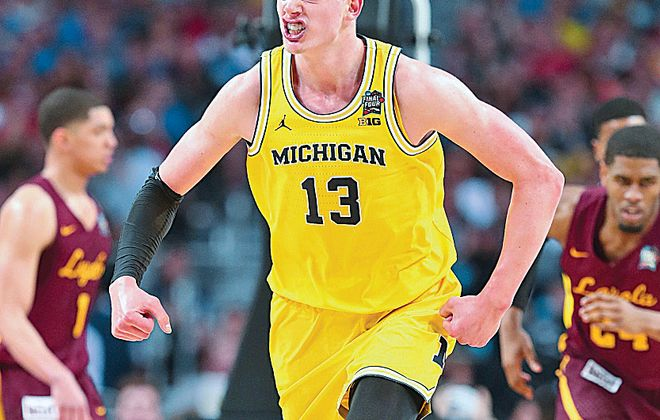 Moritz Wagner has 24 points and 14 rebounds for Michigan in its semifinal win over Loyola-Chicago.  (Getty Images)