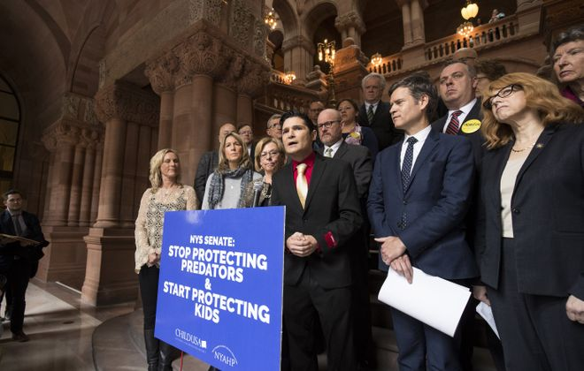 Actor Corey Feldman speaks in support of the Child Victims Act on March 14, 2018, at the New York State Capitol in Albany. The State Legislature is expected to approve the act on Monday. (Getty Images)