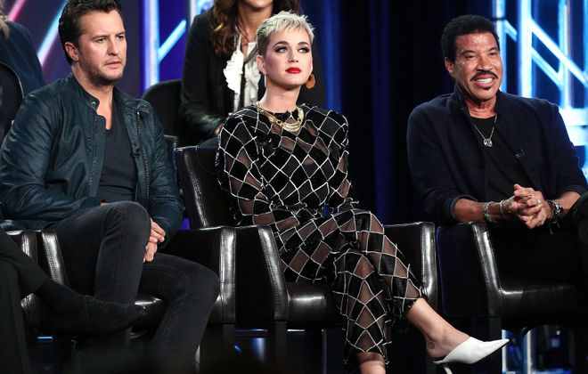 """""""American Idol"""" judges Luke Bryan, Katy Perry and Lionel Richie speak onstage during the ABC Television/Disney portion of the 2018 Winter Television Critics Association Press Tour. (Frederick M. Brown/Getty Images)"""