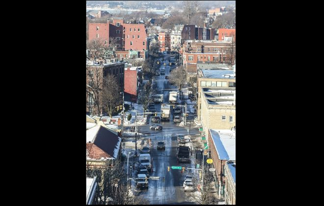 Allen Street, looking west from the medical campus. (Derek Gee/Buffalo News)
