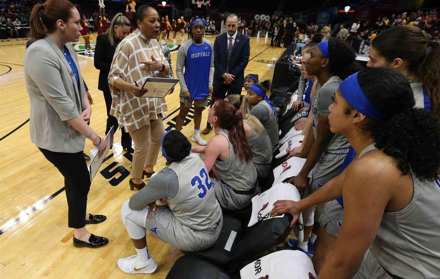 UB women's basketball coach Felisha Legette-Jack addresses her team. (James P. McCoy/Buffalo News)