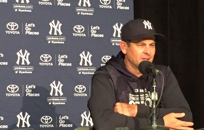 New Yankees manager Aaron Boone meets the media prior to Thursday's season opener in Toronto (Mike Harrington/Buffalo News).