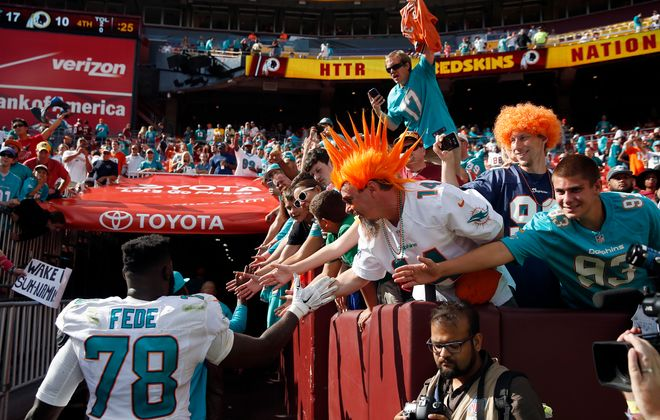 Dolphins defensive end Terrence Fede played a key role on Miami's special teams in 2017. (Getty Images)
