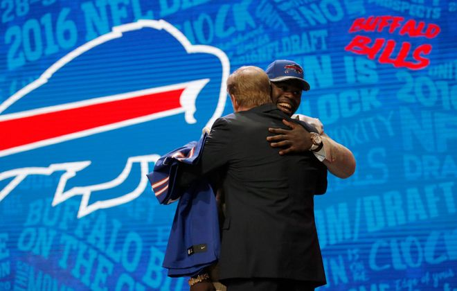 Shaq Lawson hugs NFL commissioner Roger Goodell after being picked 19th overall by the Bills in the 2016 NFL Draft. (Photo by Jon Durr/Getty Images)