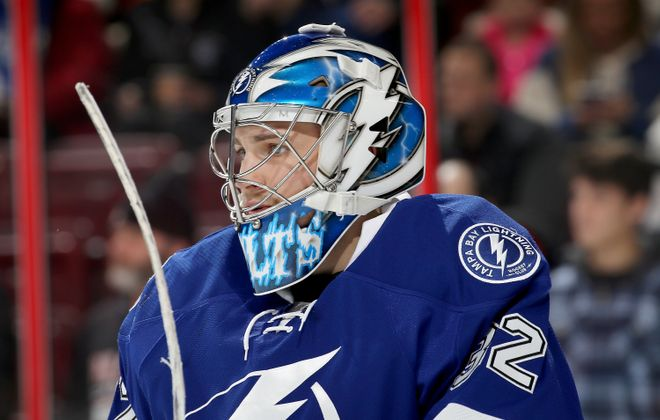 Though Adam Wilcox dressed as a backup for Tampa Bay in January 2017, he has yet to play in an NHL game. (Getty Images)