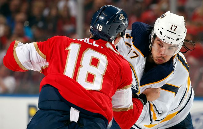A first-period fight by Buffalo's Jordan Nolan and Florida's Micheal Haley was a preliminary bout for the final 22 seconds. (NHLI via Getty Images)