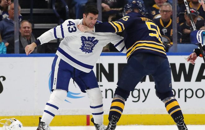 Toronto's Nazem Kadri and Buffalo's Rasmus Ristolainen had an even fight, but Kadri won the post-fight chat. (Getty Images)
