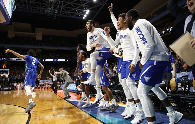 The Buffalo Bulls bench celebrates a 3-point basket in the second half against the Arizona Wildcats during the first round of the 2018 NCAA Men's Basketball Tournament at Taco Bell Arena on March 15, 2018, in Boise, Idaho. (Getty Images)