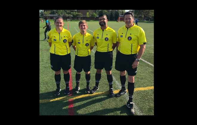 Tom George, far right, is a local referee battling a rare form of lymphoma. (Courtesy of John Netter)