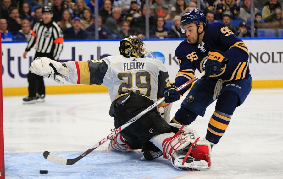 The Sabres' Justin Bailey scores his third goal in eight NHL games this season, going around Vegas goalie Marc-Andre Fleury. (Harry Scull Jr./Buffalo News)