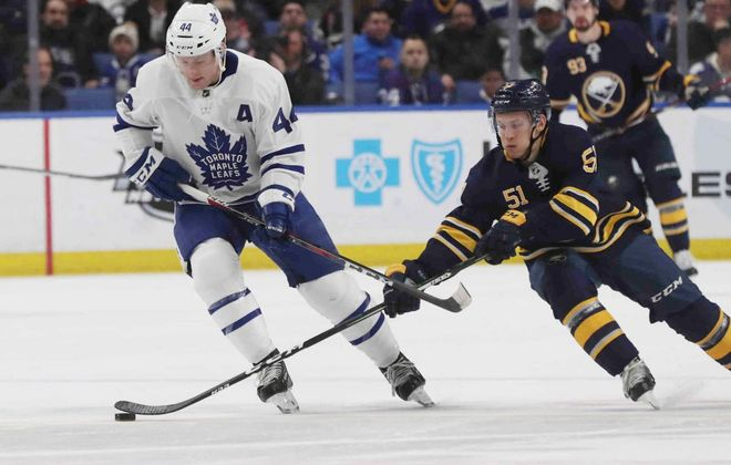 The Sabres' Kyle Criscuolo played just 4:29 before getting injured Monday against Toronto. (James P. McCoy/Buffalo News)