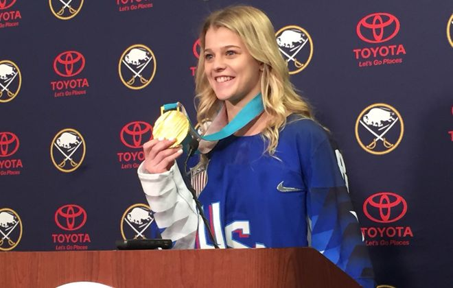 Emily Pfalzer and her Olympic gold medal have been on a cross-country tour that landed in Buffalo on Saturday. (Mike Harrington/Buffalo News)