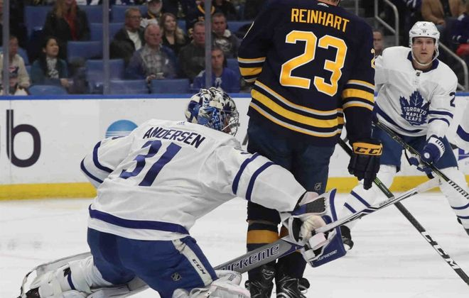 Sam Reinhart was on top of Toronto goaltender Frederik Andersen for most of the night Monday. (James P. McCoy/Buffalo News)
