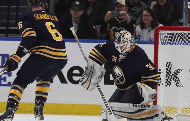 Sabres goalie Chad Johnson will play his old team for the second time this season. It went well the first time. (James P. McCoy/Buffalo News)
