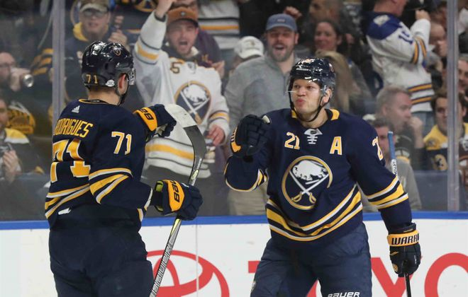 Kyle Okposo returned to the Sabres' lineup while Evan Rodrigues departed because of injury. (James P. McCoy/News file photo)