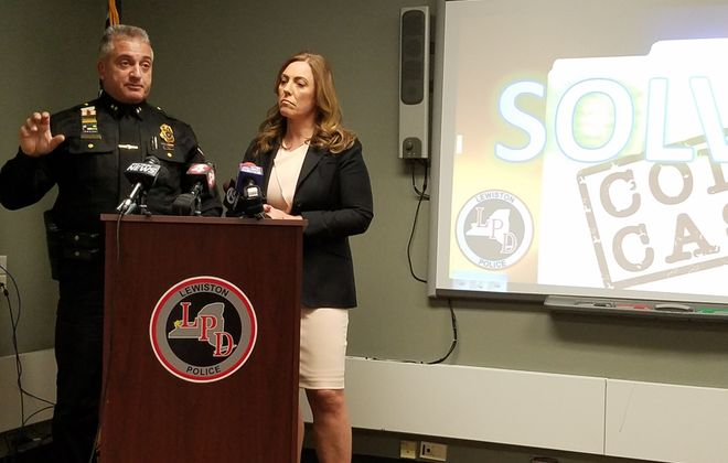 Lewiston Police Chief Frank Previte and Niagara County District Attorney Caroline Wojtaszek announce an arrest in an over six years old cold case