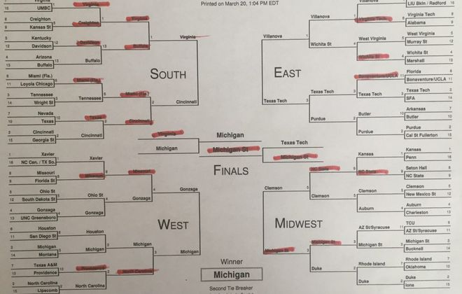 Bucky Gleason: Your NCAA tourney bracket is a sea of red? Join the club